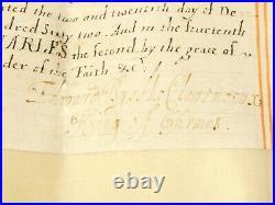 1662 Charles II Grand of Arms Illuminated Document & Seal JOHN GONNING Bristol