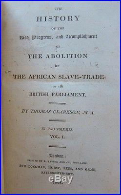1808Clarkson's HISTORY OF SLAVE TRADEFIRST EDITIONslavery abolitionism racism