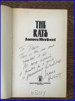 1974 James Herbert, THE RATS. Signed First Edition in Dustwrapper. Rare