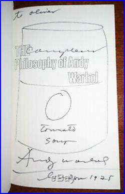 1975 The Philosophy of Andy Warhol A to B and Back Again SIGNED 1st Edition Soup