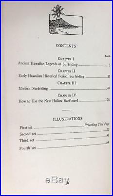 1st Edition 1st Book on Surfing 1935 Hawaiian Surfboard Tom Blake Signed Pulani