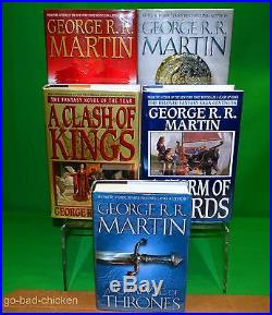 2 SIGNED A Game Of Thrones George RR Martin 4 1st FIRST EDITION HC 5 Book Set