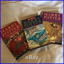 3 Harry Potter Signed J K First Edition Books Philosophers Chambers Azkaban