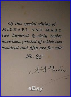 A. A. Milne SIGNED FIRST EDITION. AUTOGRAPH numbered. 85 out of 260. Michael & Mary