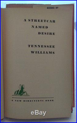 A Streetcar Named Desire by Tennessee Williams (signed copy) First Edition 1947