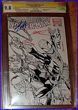 AMAZING SPIDERMAN 1 5X 1st DAY SIGNED STAN LEE RAMOS SLOT SKETCH VARIANT CGC 9.8