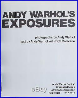ANDY WARHOL Andy Warhol's Exposures SIGNED FIRST EDITION