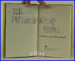ANDY WARHOL The Philosophy of Andy Warhol SIGNED FIRST EDITION