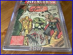AVENGERS # 1 CGC 2.5 Silver Age 1963 UK VARIANT Signed by Stan Lee UACC verified