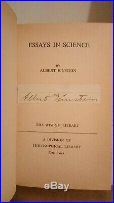 Albert Einstein Signed Book Essays in Science First Edition 1934