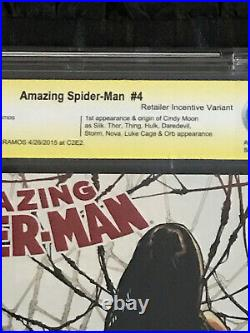 Amazing Spider-man #4 CBCS 9.8 White Pages 1st Silk! Retailer Variant Ramos SIGN