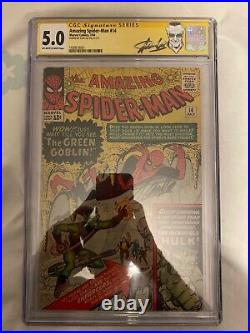 Amazing Spiderman 14 CGC SS 5.0 OW-W Signed by Stan Lee 1st app Green Goblin