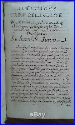 American 1644 QUECHUA MANUSCRIPT book Cuzco Peru taught children Spanish US