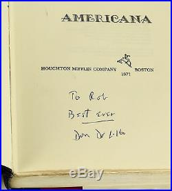 Americana by DON DELILLO SIGNED First Edition 1971 1st Book White Noise
