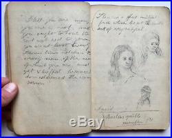 Antique 1878 Handwritten Manuscript Drawing Sketchbook Art Journal Lucas Baker