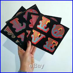Ben Eine Love Lenticular Post Cards 1st Edition LE Black 2016 Signed Set of 4