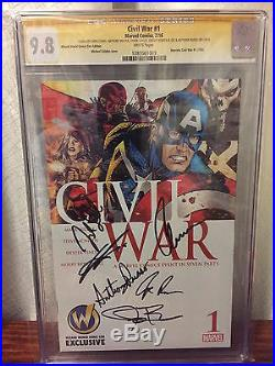 CIVIL WAR #1 CGC 9.8 Exclusive Chris Evans Jeremy Renner Signed Avengers Endgame