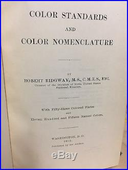 Color Standards and Color Nomenclature by Robert Ridgway FIRST EDITION 1912