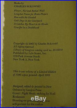 Crucifix in a Deathhand CHARLES BUKOWSKI SIGNED Limited First Edition 1965