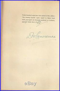 D. H. LAWRENCE Signed Book Autographed FIRST EDITION 1929 Limited Edition COA