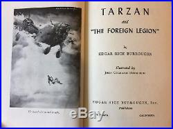 EDGAR RICE BURROUGHS SIGNED TARZAN And The FOREIGN LEGION 1947 FIRST EDITION