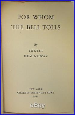 ERNEST HEMINGWAY For Whom the Bell Tolls INSCRIBED FIRST EDITION