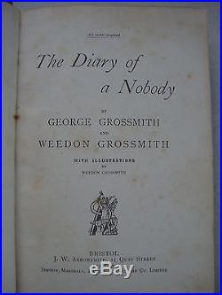 FIRST EDITION THE DIARY OF A NOBODY 1892 G & W GROSSMITH SIGNED