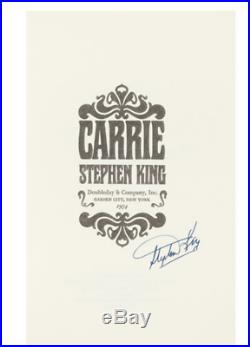 First Edition of Stephen King's Carrie in the Original Dust Jacket Signed by Him