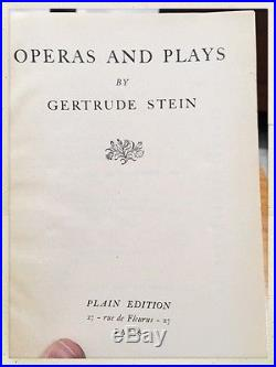 Gertrude Stein OPERAS AND PLAYS 1st First Plain edition 1932 SIGNED