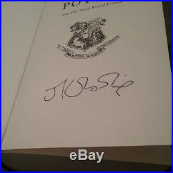 Harry Potter And The Half Blood Prince Signed By J K Rowling First Edition RARE