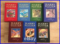 Harry Potter Deluxe UK Complete Book Set First Edition J K Rowling Signed Print