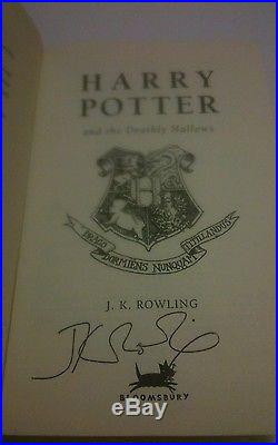 Harry Potter and the Deathly Hallows SIGNED J K Rowling First Edition Hardback