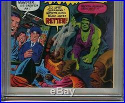 Incredible Hulk #2 CGC 9.0 VF/NM Signed STAN LEE German Edition 1st app TOAD MEN