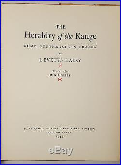 J Evetts Haley The Heraldry of the Range SIGNED FIRST EDITION 1949 Hertzog