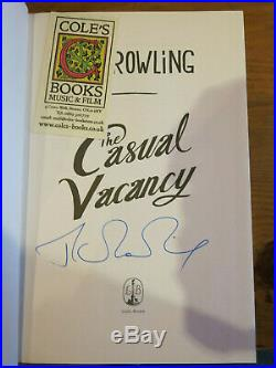 J K ROWLING Signed Book THE CASUAL VACANCY UK 1st Edition 2012 HARRY POTTER