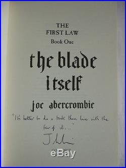 Joe Abercrombie'The Blade Itself' SIGNED and LINED first edition 1st/1st