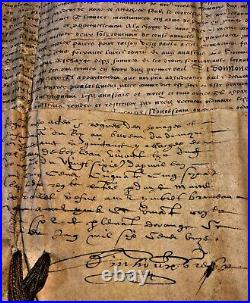 KING HENRI II OF FRANCE AUTOGRAPH 1554 Father of Charles IX Francis II Henry III