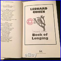 Leonard Cohen Book of Longing Poems (First Edition) SIGNED BY LEONARD COHEN
