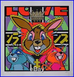 Love First Edition Bunnies Rabbits Silkscreen Poster Frank Kozik signed numbered
