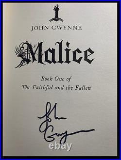 Malice SIGNED by JOHN GWYNNE Rare Limited Hardback 1st Edition & Print 1/500