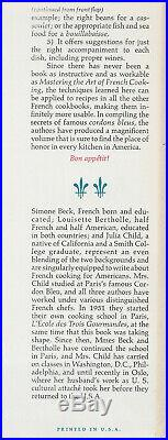 Mastering The Art Of French Cooking (1961) Julia Child, Signed, Oct. 1st Edition
