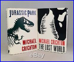 Michael Crichton-2 Books! -SIGNED! -First/1st Editions-Jurassic Park-Lost World