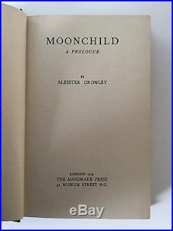 Moonchild Aleister Crowley 1929 1st First Edition DW DJ MAGICK FINE COPY SIGNED