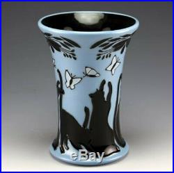 Moorcroft Lucky Black Cat Vase 158/6, Numbered Edition, Signed, 1st Quality