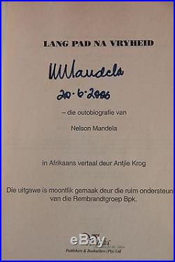 NELSON MANDELA hand signed + dated Biography FIRST EDITION + COA AUTOGRAPH