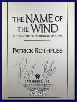Name of the Wind SIGNED by PATRICK ROTHFUSS Hardback 1st Edition and Printing