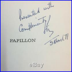 Papillon by Henri Charriere First Edition Signed 1970 William Morrow and Company
