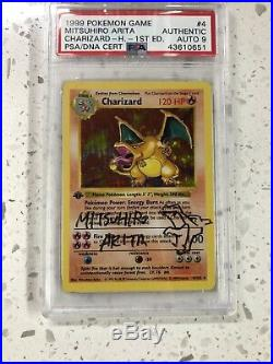 Pokemon 1ST EDITION CHARIZARD PSA/DNA AUTO 9 Base Set MITSUHIRO ARITA SIGNED