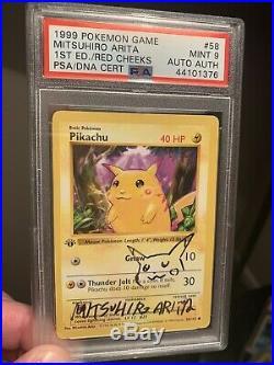 Pokemon 1st Edition Base Set Pikachu Signed Mitsuhiro Arita PSA 9 Mint