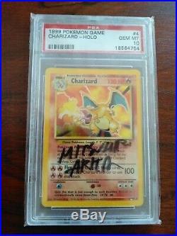Pokemon Card Base Set Charizard Holo PSA 10 not 1st edition Case signed By Arita